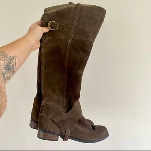 Restricted Brown/ Green Suede Riding Boots Knee